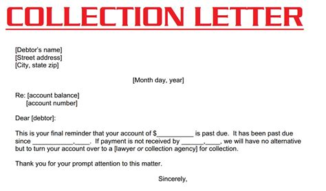 collections notice template collection letter 3000