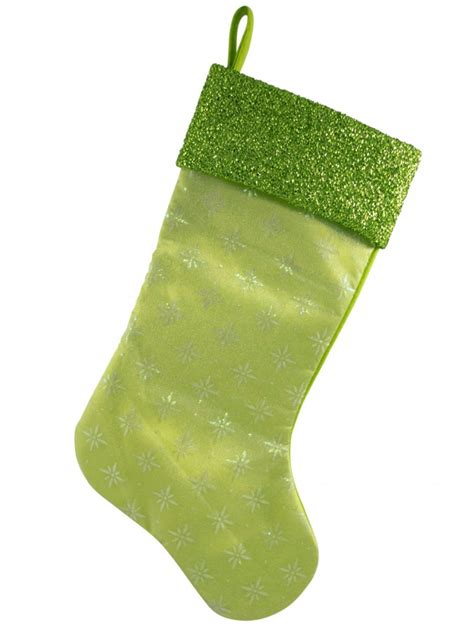 lime green snowflake design stocking 44cm santa hats