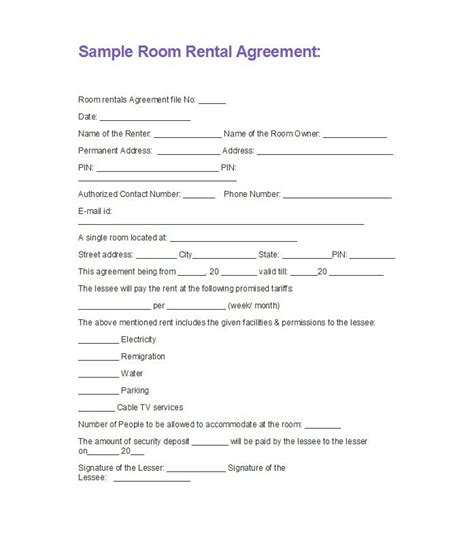 Letter Of Agreement To Rent A Room 42 Rental Application Forms Lease Agreement Templates