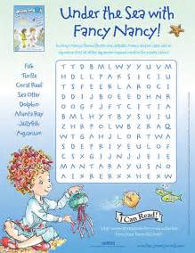 printable under the sea word search under the sea with fancy nancy printable word search