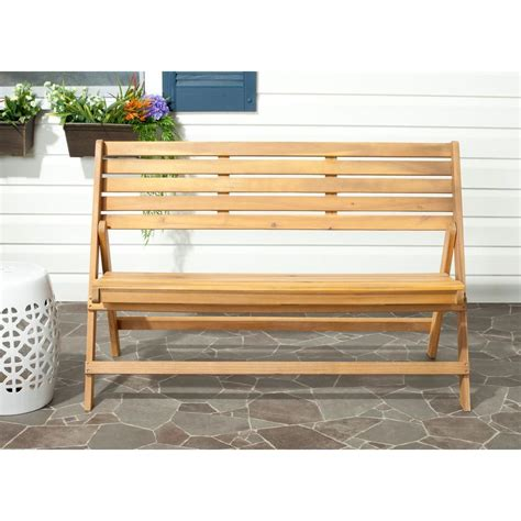 home depot wood bench safavieh luca natural brown acacia wood folding patio