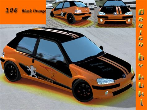 peugeot 106 orange trackmania carpark 2d skins 106 black orange