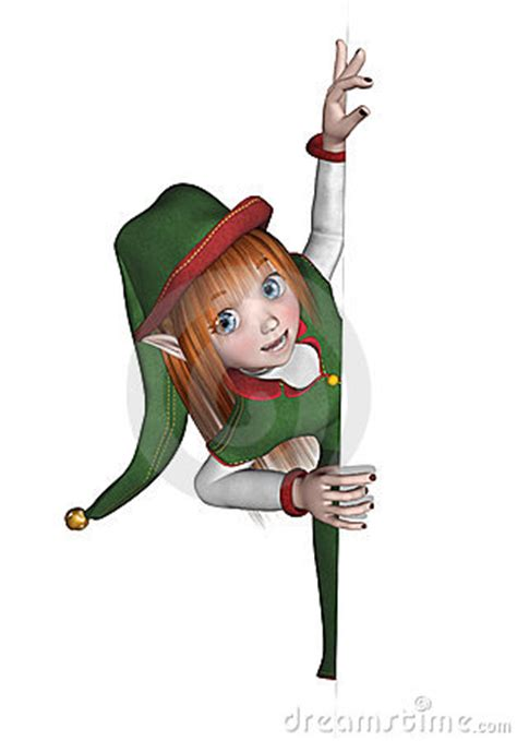 christmas elf looking around an edge stock image image