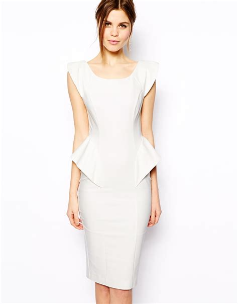 Dress Ola White Fit L Cc asos pencil dress with structured peplum in white lyst