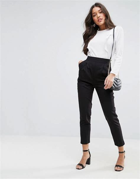 Land Nanette Lepores Wearable High Waist Trousers asos asos high waist tapered trousers with elasticated back