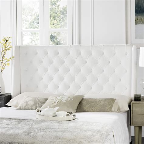 white tufted winged headboard flat nail heads