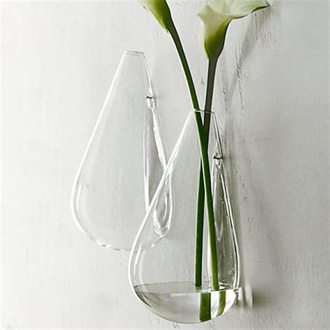 Wall Mounted Flower Vases by Wall Mounted Water Drop Shape Glass Vase Garden