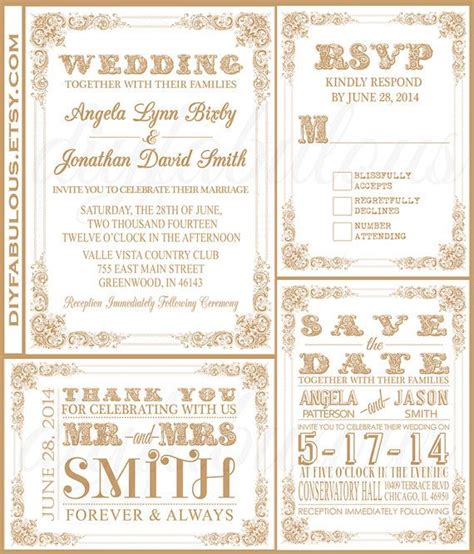 printable wedding invitations gold printable white and gold wedding invitation suite diy
