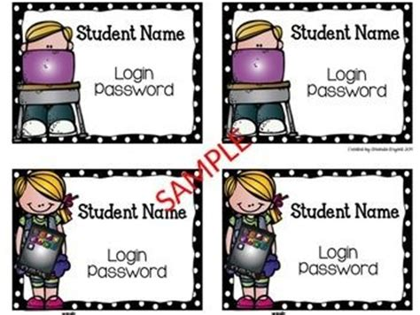 computer log in card template editable and free student computer login cards a