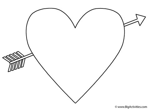 Heart with an Arrow   Coloring Page (Valentine's Day)