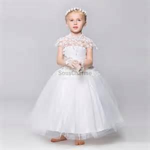robe de mariã e enfant robe fille cort 232 ge enfant pour mariage en tulle blanche jupe le vaporeuse col montant en dentelle