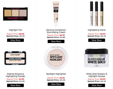 City Color Glowing Complexion Iluminating all city color highlighters 30 this weekend the budget