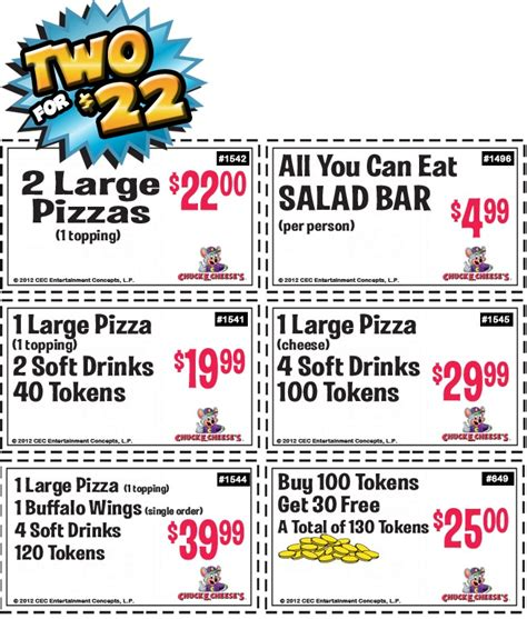 printable pizza tickets 66 best chuck e cheese printable coupons free tokens