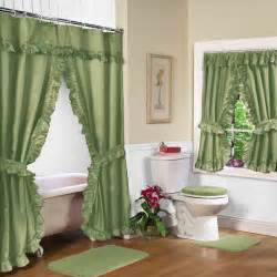 Curtains With Green Decorating Green Shower Curtain With Valance And Decorative Toilet Seat Covers Plus Small Square Rugs