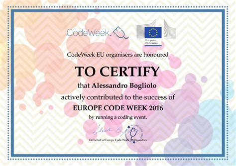 cornici attestati attestati codeweek italia