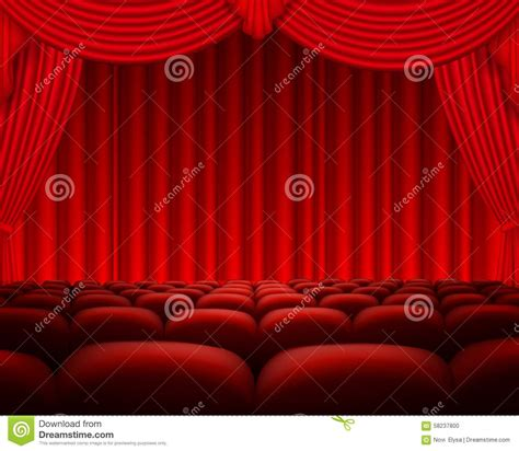kino vorhang kino oder theaterszene mit einem vorhang vektor abbildung