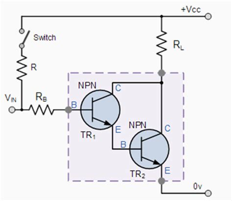 darlington transistor base voltage darlington output voltage and load connection