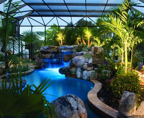 Natural Lagoon Pool with Spa, Stream & Outdoor Kitchen