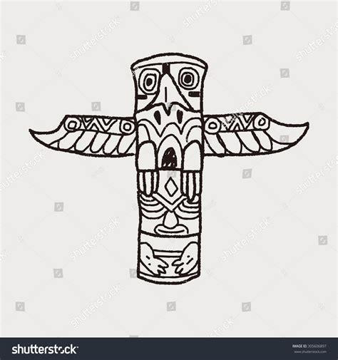 doodlebug pole totem pole doodle stock vector illustration 305606897