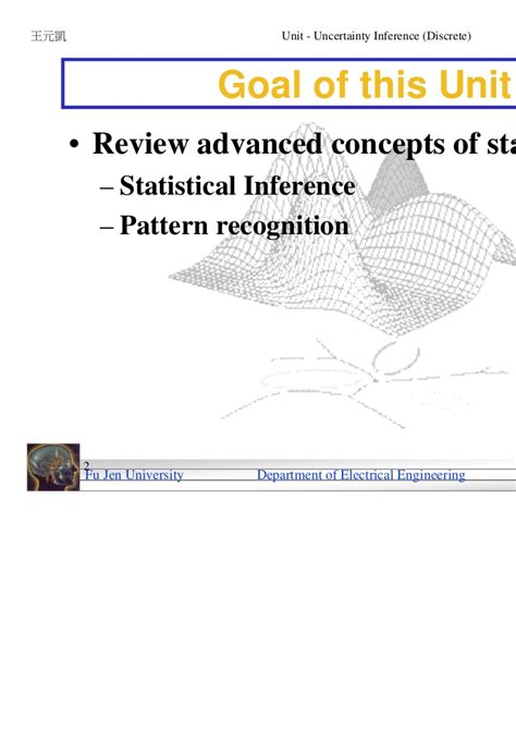 statistical pattern recognition review 03 uncertainty inference discrete