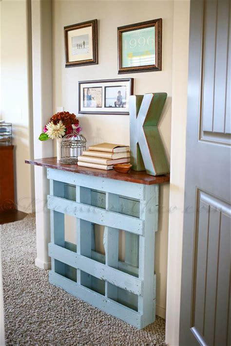 recycled painted pallet console table