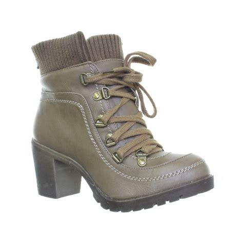womens heeled cuff lace up hiking leather style