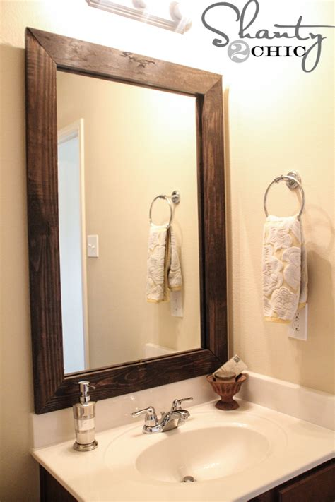 framed bathroom mirrors best way to give unique character cheap and easy way to update a bathroom shanty 2 chic