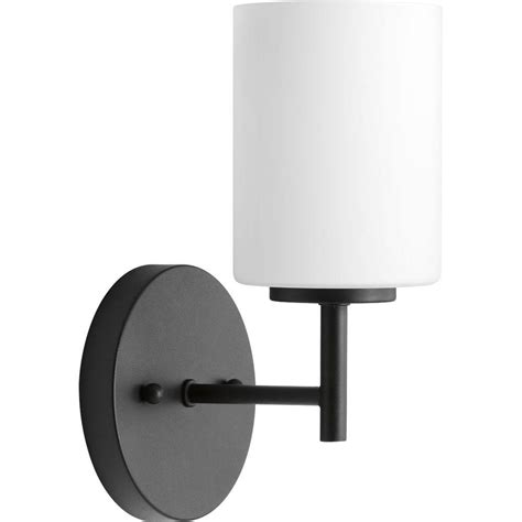 Progress lighting replay collection 1 light black bath sconce with frosted glass shade p2131 31