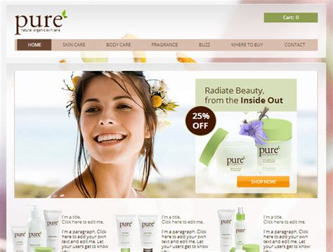 Create Free Skincare And Beauty Products Website Templates Perfect Products Website Templates