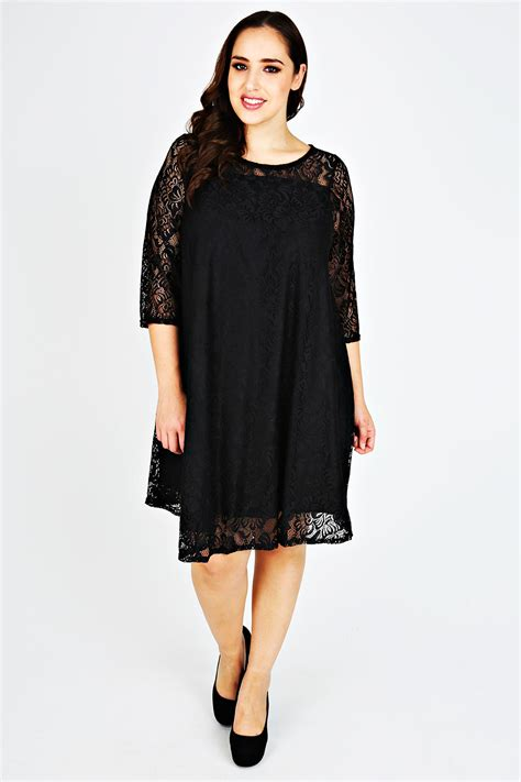 size 16 swing dress black lace sleeved swing dress plus size 14 to 36