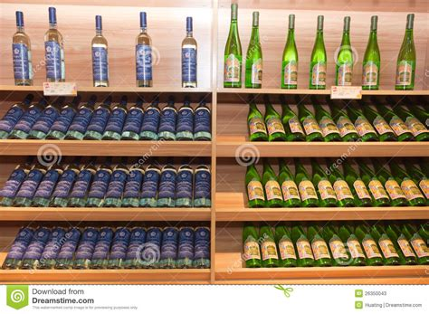 Shelf Of Opened White Wine by Wine Shelves In Shop Editorial Stock Photo Image Of Food