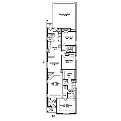 long narrow apartment floor plans narrow house plans with rear garage long narrow lot house