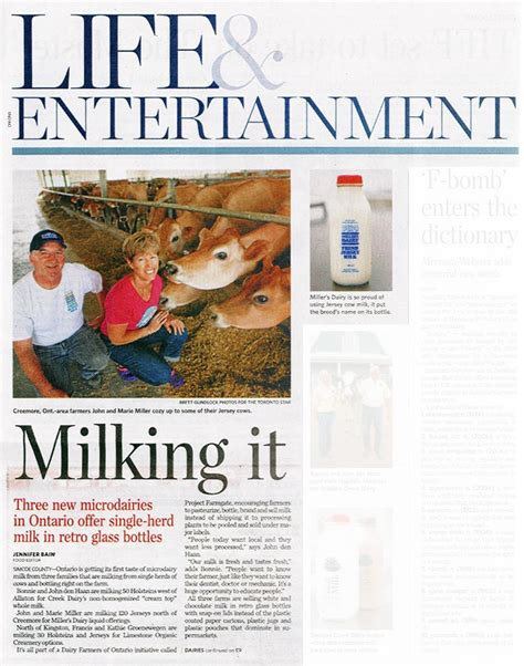 toronto star life section miller s dairy