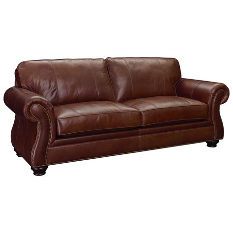 broyhill leather couch broyhill furniture laramie leather sofa with nailhead trim