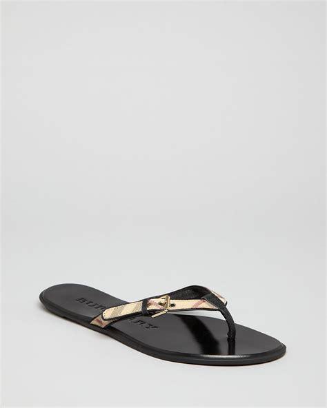 burberry sandals burberry flip flop sandals parsons check in black lyst