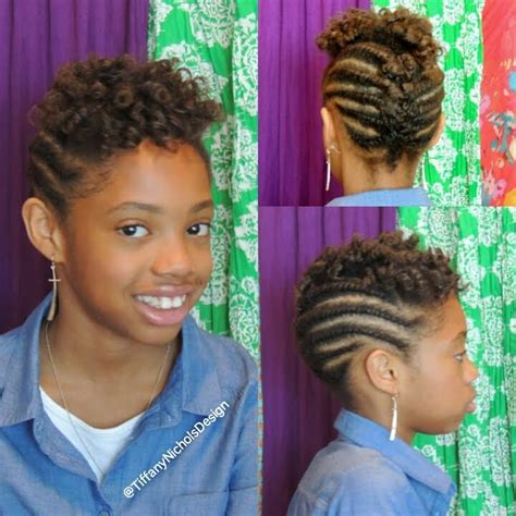 roller set and flat twist updo on natural hair kid