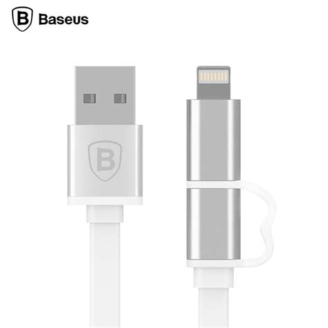Baseus Dual Port Pro Series 2 In 1 Micro Usb Lightning Metal Us 1 baseus dual port pro series 2 in 1 micro usb lightning metal usb cable original