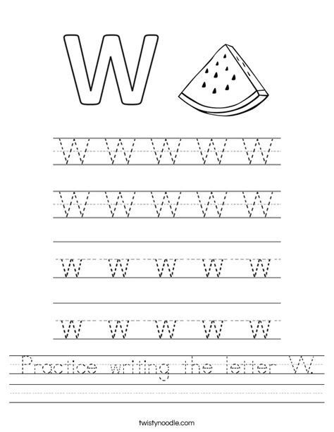 Letter W Worksheets by Practice Writing The Letter W Worksheet Twisty Noodle
