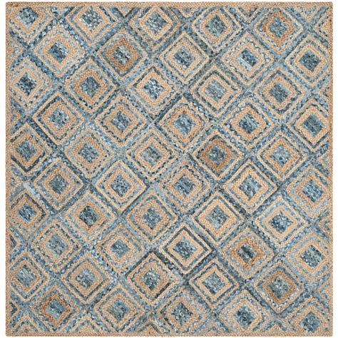 Safavieh Cape Cod Natural Blue 8 Ft X 8 Ft Square Area Area Rugs 8 X 8