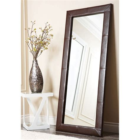 Floor Mirror by Abbyson Living Delano Brown Leather Floor Mirror