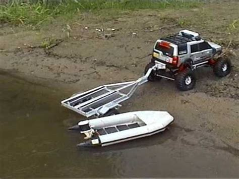 rc car and boat trailer for sale rc lr3 crawler launching boat on trailer youtube