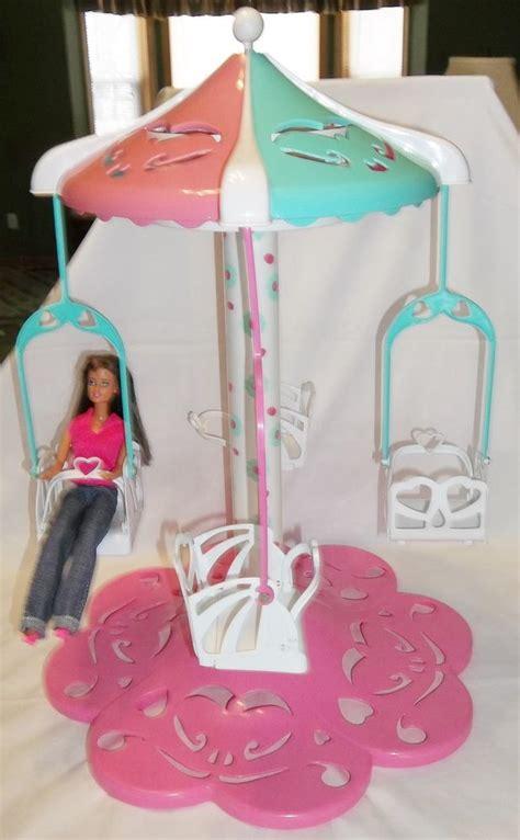 barbie swing barbie carnival fair carousel of swings spins musical rare