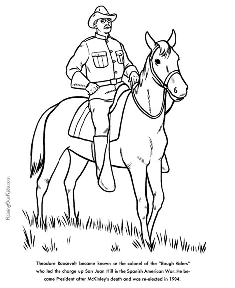 Theodore Roosevelt Coloring Page theodore roosevelt facts and pictures