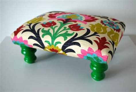 Colorful Ottoman Colorful Rainbow Damask Footstool Ottoman By Mendetc On Etsy