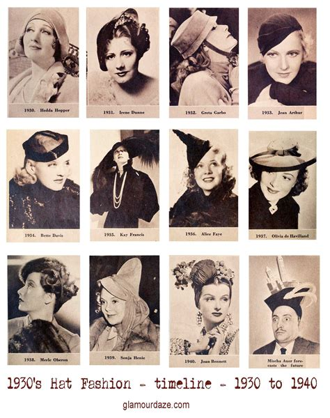 1930s hairstyles history photographic timeline of 1930s hats 1930 to 1940