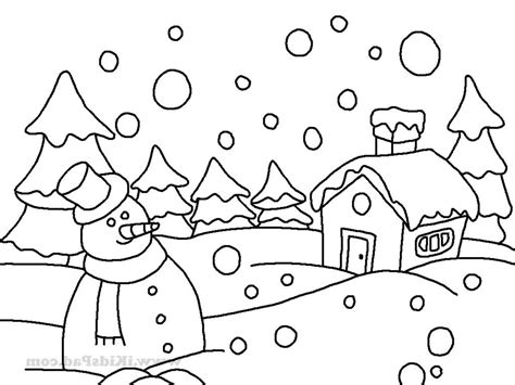winter coloring pages easy sketch of winter season drawings nocturnal