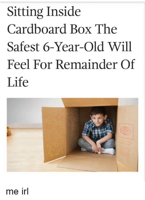 Cardboard Box Meme - sitting inside cardboard box the safest 6 year old will