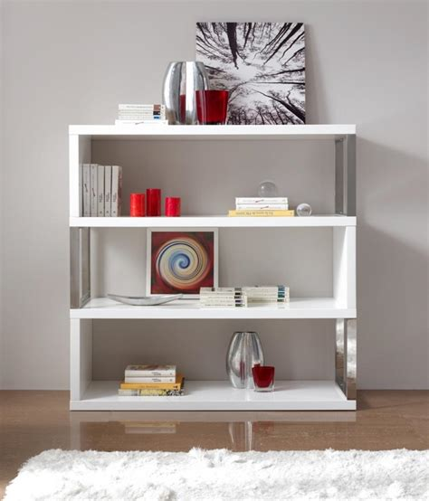 contemporary bookshelf in white with chrome tubular support