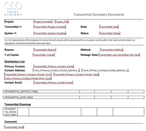 Transmittal Document Format Transmittal Document Template