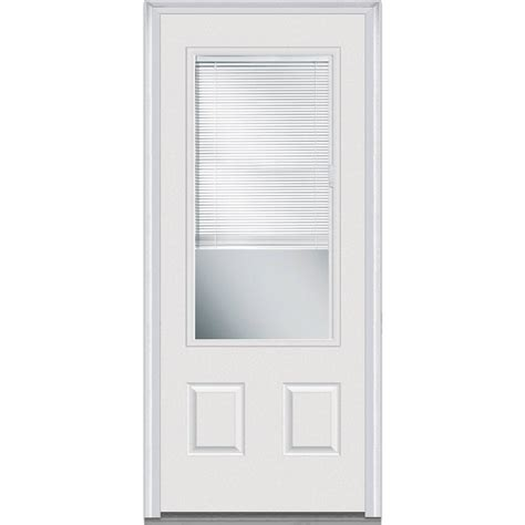 2 4 Exterior Door Mmi Door 36 In X 80 In Rlb Left 3 4 Lite 2 Panel Classic Primed Fiberglass Smooth Prehung